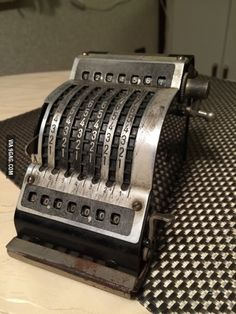 Found this in my grandparents basement. A mechanical calculator from 1936.