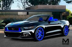 MAD Industries 2015 Ford Mustang GT convertible black and blue custom interior, blue wheels Ford Mustang Gt, Ford Gt, Ford Mustang Cabriolet, 2015 Ford Mustang Convertible, Mustang Ecoboost, Mustang Cars, Mustang Tuning, 2015 Mustang, Black Mustang
