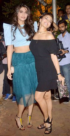 Sonam Kapoor and Jacqueline Fernandez at the 'ABCD 2' success bash. #Bollywood #Fashion #Style #Beauty