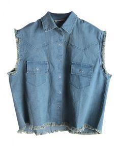 Raw Edges Denim Vest with Twin Pockets