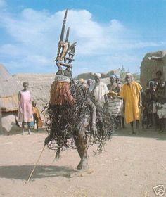 Bamana Chi-wara (antelope) headdress dancers  Near Bamako, Mali  Photograph by Eliot Elisofon, 1971