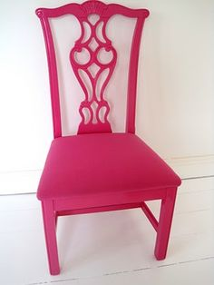Paint An Old Chippendale Dining Chair Bright Pink! Put With Black Frame U0026  Glass Dining