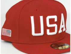 USA Scarlet 59Fifty Fitted Baseball Cap by NEW ERA