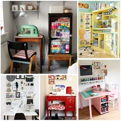 15 Small SEWING SPACES That Inspire: love the DIY Sewing Table with built in storage bottom right!