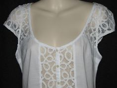 NWT HOLLISTER BY ABERCROMBIE WOMEN'S LACE LAYERING SHIRT TOP BLOUSE WHITE MED
