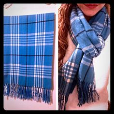 Blue plaid scarf Very soft blue plaid scarf, well cared for! I'm in the process of downsizing my closet :'( and need to find new homes for some of my scarves! Accessories Scarves & Wraps