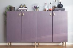 Best IKEA Storage Furniture Hacks Ever plain Ivar cabinets turned into a stylish home bar in purple, with copper legs and leather pullsplain Ivar cabinets turned into a stylish home bar in purple, with copper legs and leather pulls Ikea Storage Furniture, Home Bar Furniture, Furniture Makeover, Furniture Cleaning, Furniture Design, Building Furniture, Furniture Market, Furniture Movers, Barbie Furniture
