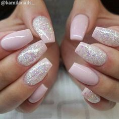 Delicate glitter twist to these beautiful baby pink nails!