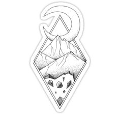 Geometric mountain in a diamonds with moon (tattoo style - black and white) by #Beatrizxe | #redbubble #sticker Several mountains are enclosed in two overlapping diamonds or rhombs. A crescent moon escapes of the diamonds and it seems a optical illusion #Geometric  #illustration #mountain #diamond #rhomb #moon #optical #illusion #ink #tattoo #line #pointillism #design #sketch #doodle #minimal #minimalism #mountains #night #minimalist
