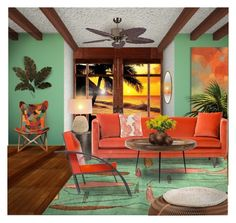 """Color Combo 4 of 5:  Green + Orange"" by constanceann ❤ liked on Polyvore featuring interior, interiors, interior design, home, home decor, interior decorating, ZEKI, WALL, Avery and mater"