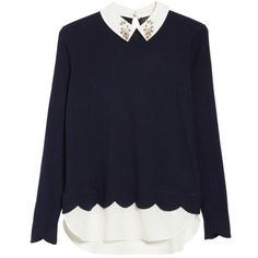 Women's Ted Baker London Suzaine Embellished Layered Look Sweater (890 RON) ❤ liked on Polyvore featuring tops, sweaters, shirts, layered sweater, shirt sweater, layered collar sweater, sparkly shirts and scalloped shirt
