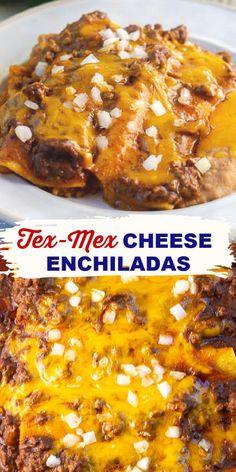 Easy Cheese Enchiladas, Shredded Beef Enchiladas, Mexican Enchiladas, Chicken Enchiladas, Enchilada Recipes, Meat Recipes, Mexican Food Recipes, Cooking Recipes, Tex Mex Enchilada Sauce Recipe