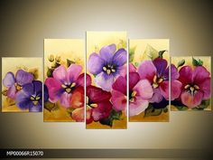 each could stand alone, pretty! Three Canvas Painting, Multiple Canvas Paintings, 3 Piece Canvas Art, Canvas Wall Art, Diy Art, Diy Wall Art, Beautiful Paintings, Art Pictures, Flower Art