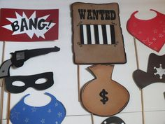 PHOTO BOOTH PROPS howdie cowboy by flutterbugfrenzy on Etsy, $37.00