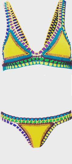 Perfect Bikini Set For Hot Summer,Color-block,Crochet,Hollow Out ,Sexy  Check this most popular swimwear at SheIn.com