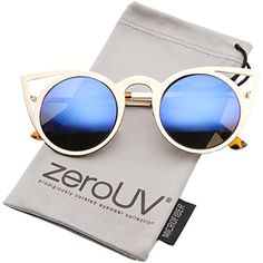1115fb1761 zeroUV - Womens Fashion Round Metal Cut-Out Flash Mirror Lens Cat Eye  Sunglasses (