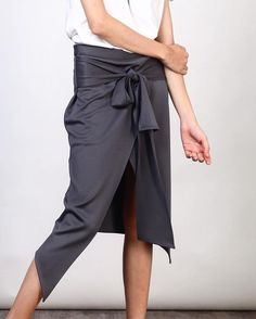 Wrap skirt, casual look. #skirt Price: 1,490.- For more information>> LINE ID: @mmchic