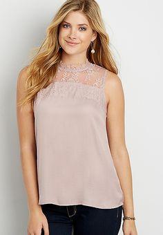 satin tank with lace yoke | maurices