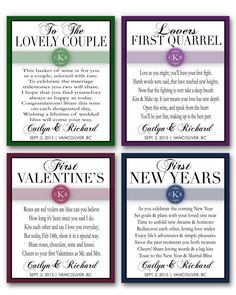 Firsts Milestones Poems Wedding Gift Wine Champagne Bottle Labels ...