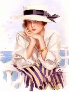 Seaside Lady vintage postcard by Harrison Fisher ~ J.Rae's Shabby Cottage Designs
