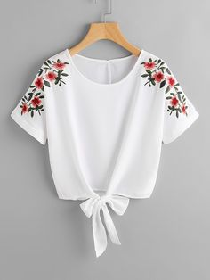 Shop Flower Embroidery Knot Front Top online. SheIn offers Flower Embroidery Knot Front Top & more to fit your fashionable needs. #FashionTops