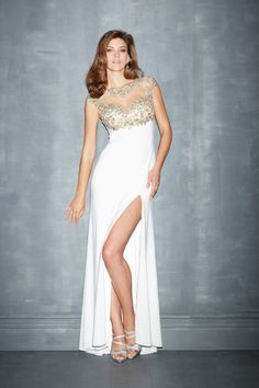 2014 Mesh Illusion Prom Dresses Scoop Neckline Sheath With Beads&Applique
