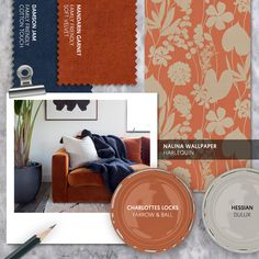 Monday Moodboard - Add luxury to your lounge with beautiful burnt orange. Rich and decadent, an orange velvet sofa looks stunning paired with navy and set against simple white walls. Burnt Orange Bedroom, Burnt Orange Decor, Burnt Orange Living Room, Orange Sofa, Orange Walls, White Walls, Navy Living Rooms, Living Room Goals, Living Room White