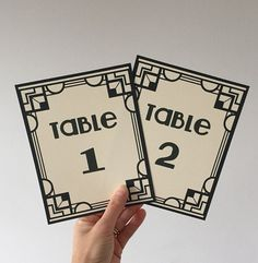 Gatsby theme Wedding Table number cards  Art by RebeccasLeaves