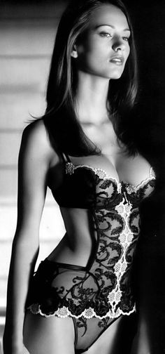Sexy Lingerie #Hot #brunette #garments #BlackAndWhite