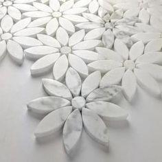ABOLOS Mosaic x Flower Calacatta White Marble Peel & Stick Decorative Bathroom Wall Tile Backsplash Sq./Case), White/Gray ABOLOS Mosaic x Flower Calacatta White Marble Peel & Stick Decorative Bathroom Wall Tile Backsplash Sq. Marble Mosaic, Stone Mosaic, Mosaic Wall, Mosaic Tiles, Carrara Marble, Mosaics, Arabesque Tile Backsplash, Owl Mosaic, Tile Art