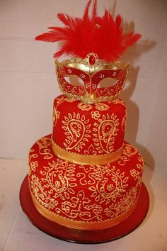 Red and Gold Masquerade cake -
