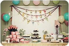 Shabby Chic Pig Party!  Very cute and unique - and love these colors together.  #pigsrule #cutebirthday #pinkpiggy
