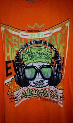 Akademiks 5X Men's Graphic T Shirt Akdmks Jeanius Level Neon Orange #Akademiks #GraphicTee