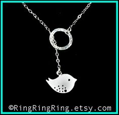 Sterling silver necklace jewelry - 925 hammered circle with cute twitter bird neclace 072012. $35.00, via Etsy.