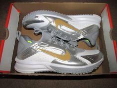 Nike Alpha Huarache Turf Mens Baseball Cleats 9.5 White Grey Gold 923435  171  Nike   5e9ef836b