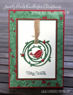 Stampin' Up! Swirly Bird Christmas Card for 2016 by Claire Daly Stampin' Up! Demonstrator Melbourne Australia