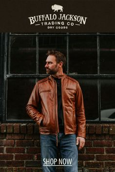 This men's vintage style tan leather jacket gives any outfit a classic rugged aesthetic. Keep it classy and casual — the more you wear this moto / racer jacket, the better it looks and feels. Tan Leather Jackets, Men's Leather Jacket, Men's Vintage, Vintage Style, Vintage Fashion, Casual Professional, Gentleman, Brown Leather, Feels