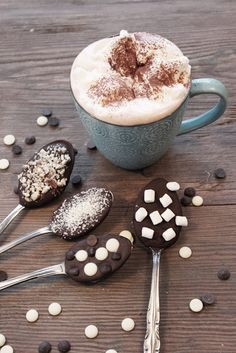 Hot chocolate spoons! Melt chocolate chips in the microwave, scoop spoonfuls and put on parchment paper, top with treats, let dry. Then stir into hot chocolate!