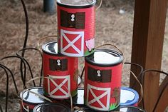 "farm party activity: ""dig"" for plastic farm animals in a tub of sand/rice and save your treasures in these decorated coffee cans  :)"