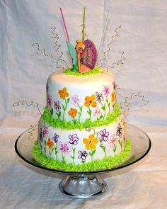 Hand painted Tinker Bell cake