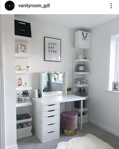 Shop for Furniture, Home Accessories & Room Design Bedroom, Girl Bedroom Designs, Room Ideas Bedroom, Bedroom Ideas For Small Rooms, Room Ideas For Girls, Small Bedroom Vanity, Cheap Bedroom Ideas, Small Bedroom Interior, Vanity Room