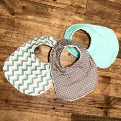Baby bibs teal gray white chevron baby girl by JonahNJane on Etsy