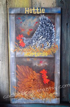 Chickens in Nest Sign Original Art hand painted by cackleblossums, $75.00