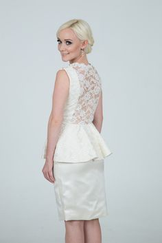 LOVE the back on this one!  Sheer lace back short dress for reception, rehearsal, or Mother of the Bride.  You can pick the color underneath the lace, too.  11411 Eva by Damsel White Label, a new Made in USA rock and roll bridal designer