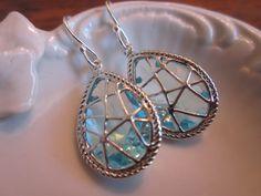 Aquamarine Earrings Blue Silver Twisted Design Sterling Silver Earwires - Bridesmaid Earrings Wedding Earrings Bridal Earrings