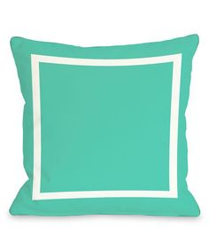 Turquoise Samantha Simple Square Outdoor Throw Pillow