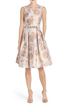 Free shipping and returns on Eliza J Belted Jacquard Fit & Flare Dress at Nordstrom.com. A metallic sheen enriches the abstract floral pattern jacquard-woven through this this shapely fit-and-flare cocktail dress with a bejeweled belt for a glamorous touch.