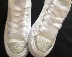 Wedding Bridal Converse Trainers Mono White Bling Personalised 3 4 5 6 7 8 9  in Clothes, Shoes Accessories, Womens Shoes, Trainers