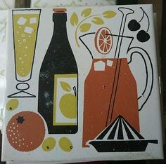 Feature vintage ceramic kitchen wall tile from 1970s kitchen also listed