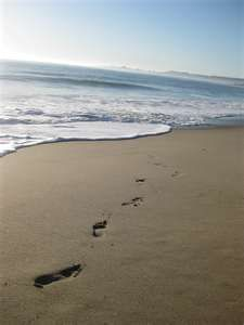 Footprints in the sand like tracks across my heart and soul, time nor the high tide will wash them away